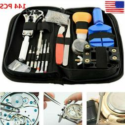 144 Pcs Watch Repair Tool Kit Watchmaker Back Case Remover O