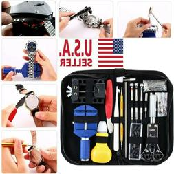 147pc Watch Repair Kit Watchmaker Back Case Opener Link Remo