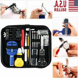 147pcs Watch Repair Kit Watchmaker Back Case Opener Link Rem