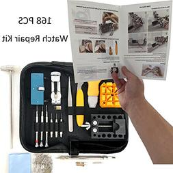 HAOBAIMEI 168 PCS Watch Repair Kit Professional Spring Bar T