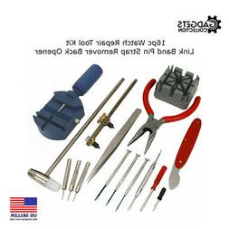 16pc Watch Repair Tool Kit Back Case Opener Band Pin Strap L