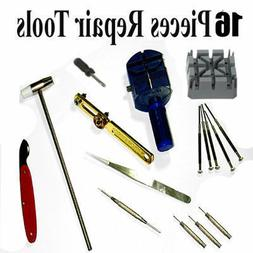 16pcs WATCH Repair Back Opener Kit Tools Band Pin Strap Link