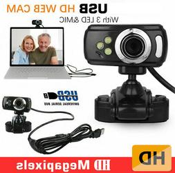 3 LED HD Webcam Video Camera USB with MIC Clip-on for Comput