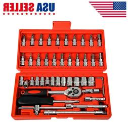 46pcs Spanner Socket Screwdriver 1/4 Car Repair Tool Ratchet