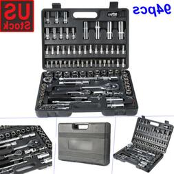 94Pcs Hand Torque Ratchet Wrench Tool Set Metric Socket Bits