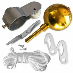 "Flag Pole Parts Repair Kit 2"" Dia Truck Pulley Gold Ball Cle"