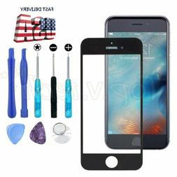 """For iPhone 6 6S 4.7"""" Black Front Outer Screen Glass Lens Rep"""
