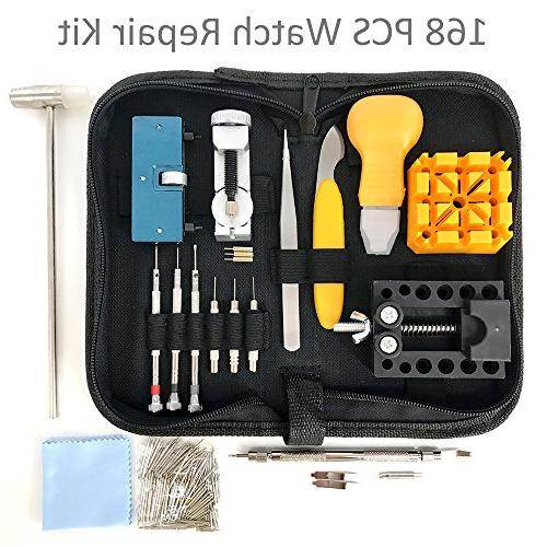 HAOBAIMEI 168 Watch Repair Professional Bar Tool Replacement Kit,Watch Band Link Tool with Carrying Instruction