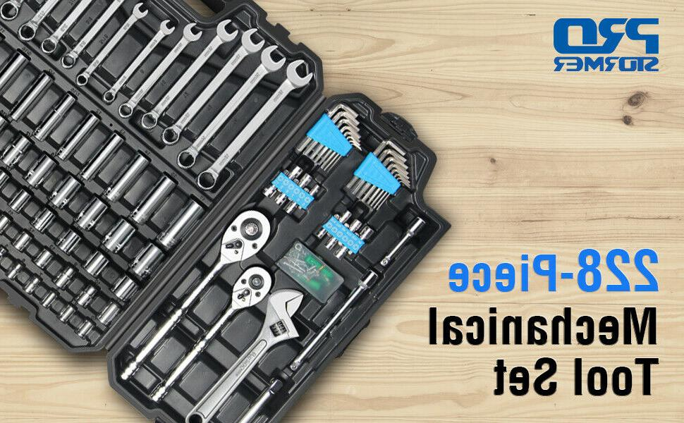 228-Piece Mixed Auto Repair Tool Kit with Box