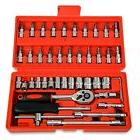 46pcs 1/4-Inch Socket Ratchet Wrench Combo Car Repair Tools
