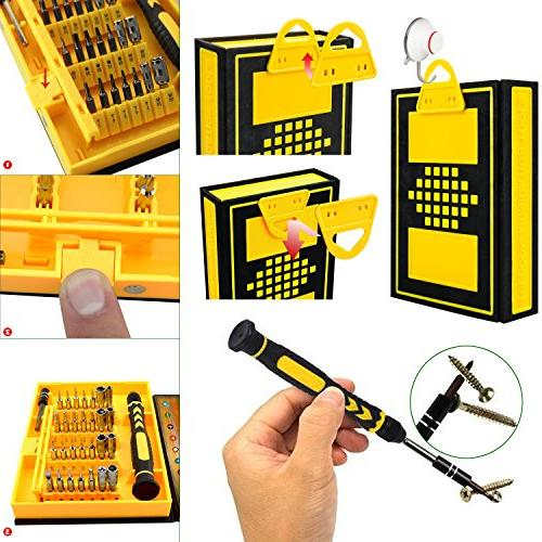 Computer Cellphone Tool Kit, Magnetic Screwdriver Set, 38 for Laptop/ Toy/ Electronic Devices