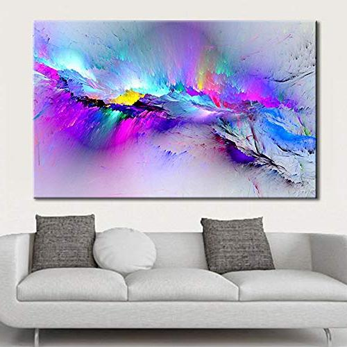 framed modern multicoloured blue canvas