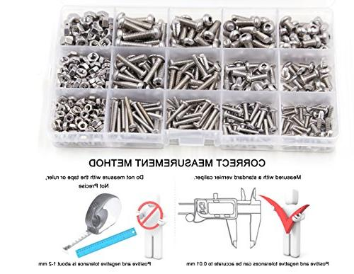 520 Pcs M5 Stainless Button Head and Kit, Precise Set Handy Assortment Tool Box, Drives for