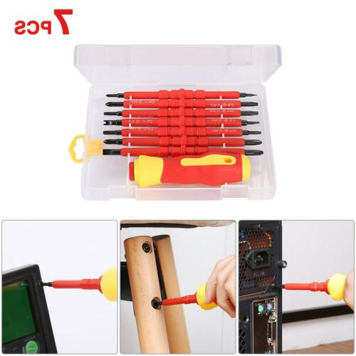FLOUREON 7Pcs Electrican's Insulated Electric Hand Scerwdriv