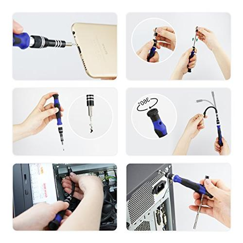 80 in Precision Screwdriver Set Driver Kit, Repair Portable Oxford Bag Repair Cell iPad, Tablet, MacBook