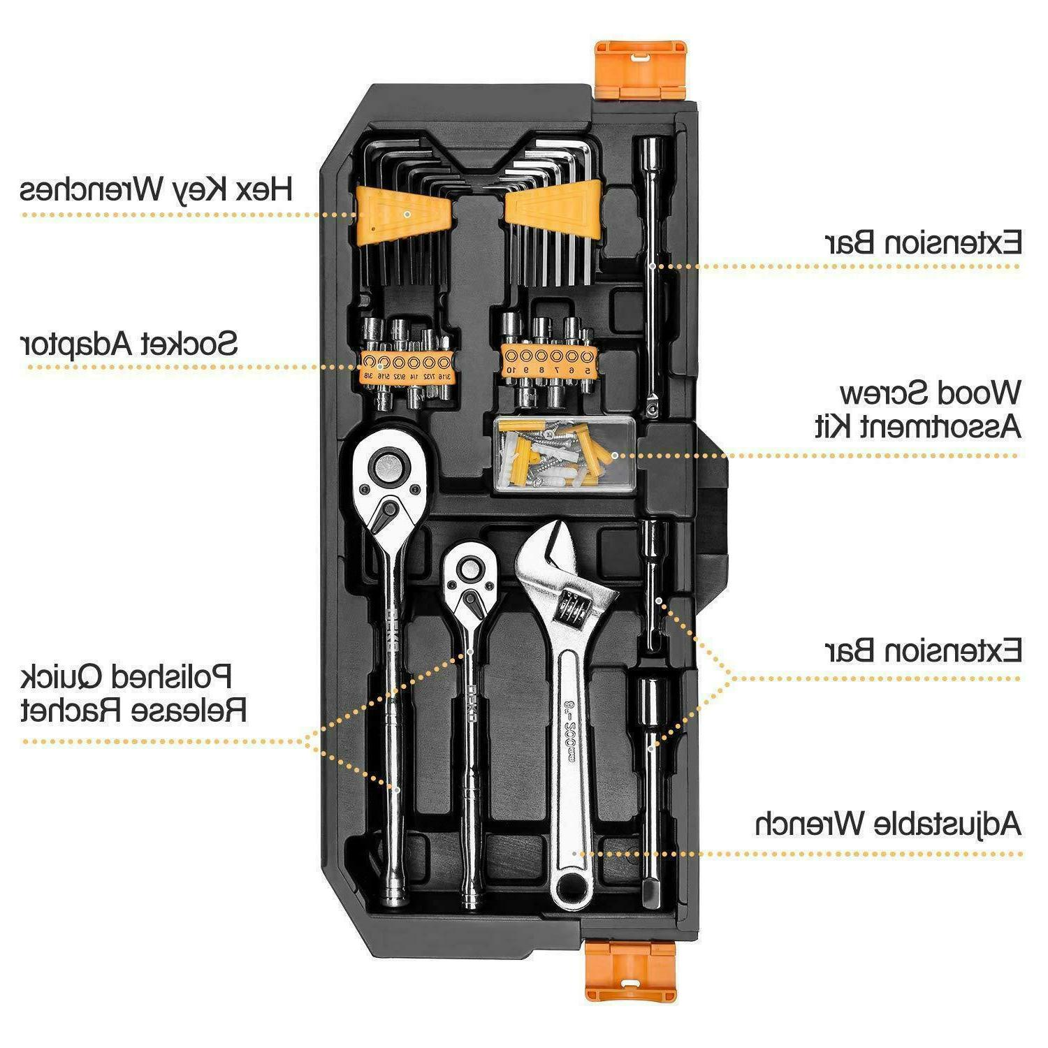 DEKO Mechanics Tool Socket Wrench Set,Auto Repair Hand Tool Kit