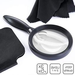 iNEEDit Magnifying Glass 3X + 5X Handheld Magnifier for Hobb