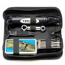 Mini Bike Pump & Tire Puncture Repair Kit & Multi-Function B