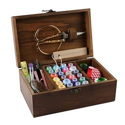 MissLytton Sewing Kit Box Basket, Wooden Hand Home Sewing Re