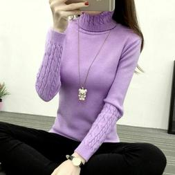 Women Turtleneck Winter Sweater Cashmere Knitted Pullovers R