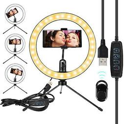 "10"" LED Ring Light w/Tripod Stand Kit For Camera Selfie Phon"